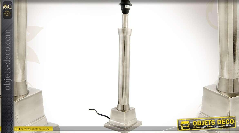 Pied De Lampe Effet Inox Noirci 56 Cm 1 X E27
