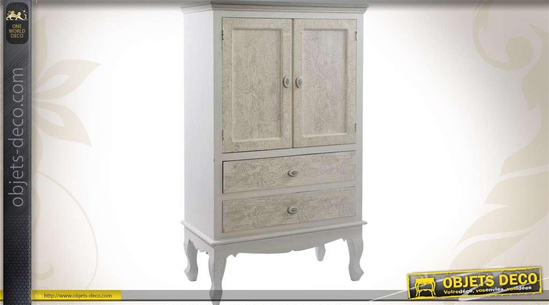 Petit buffet de style shabby chic avec 2 portes et 2 tiroirs for Petite armoire avec tiroir