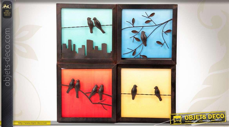 D coration murale en m tal carr s en couleurs et oiseaux for Decoration murale vannerie