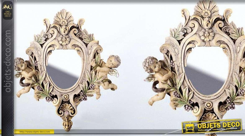 Miroir d coratif style baroque avec motifs d 39 anges 31 cm for Miroir style baroque