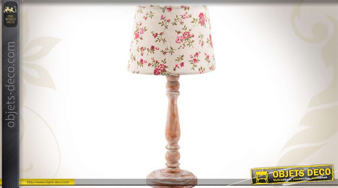 lampe en bois pied tourn avec abat jour floral style campagne. Black Bedroom Furniture Sets. Home Design Ideas