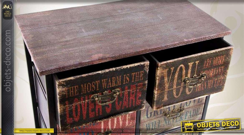 Commode à 8 tiroirs de style industriel en bois et métal