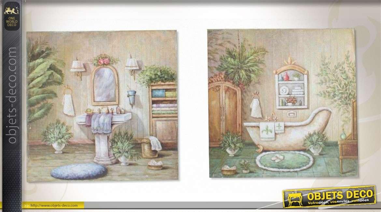 2 tableaux 30 x 30 sur toile th me salles de bains d 39 autrefois. Black Bedroom Furniture Sets. Home Design Ideas