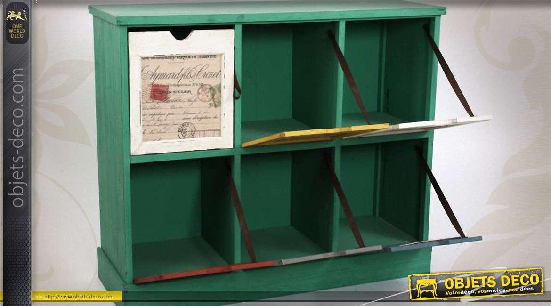Meuble 6 casiers avec ornements de style vintage for Meuble 6 casiers