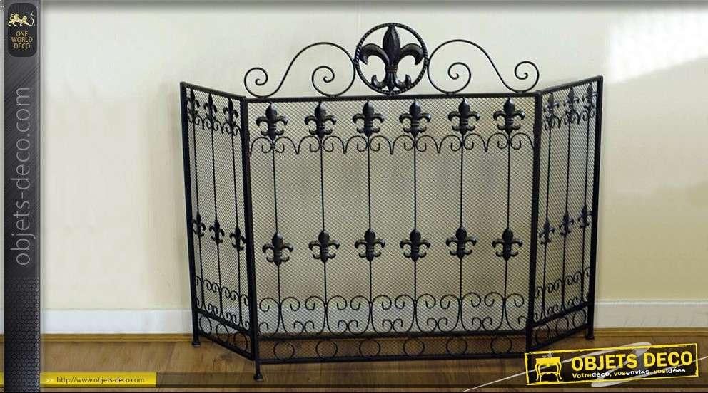 pare feux de chemin e 3 volets en fer forg. Black Bedroom Furniture Sets. Home Design Ideas