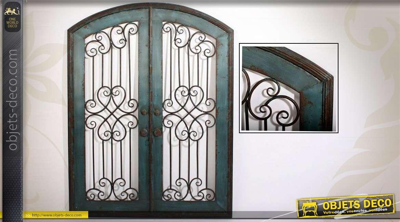 Décoration Murale En Métal Fenêtre Ancienne 100 X 76 Cm