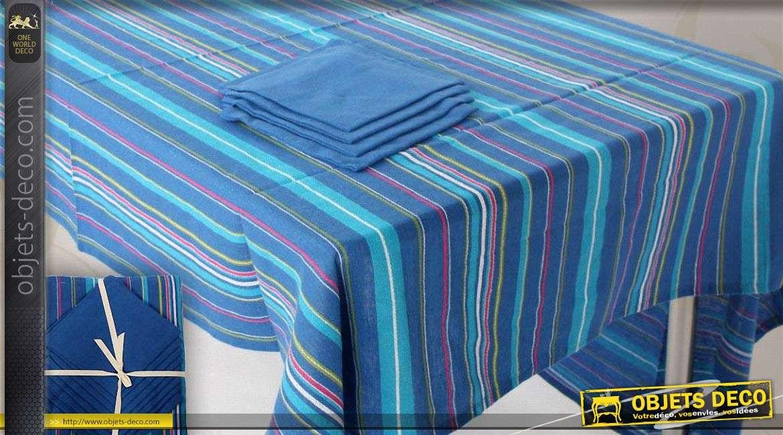 nappe rectangulaire 150 x 250 rayures bleues avec 8 serviettes. Black Bedroom Furniture Sets. Home Design Ideas