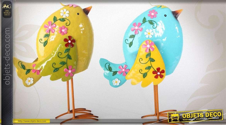 Deux oiseaux d coratifs en m tal style fleuri jaune et for Objet deco couleur turquoise