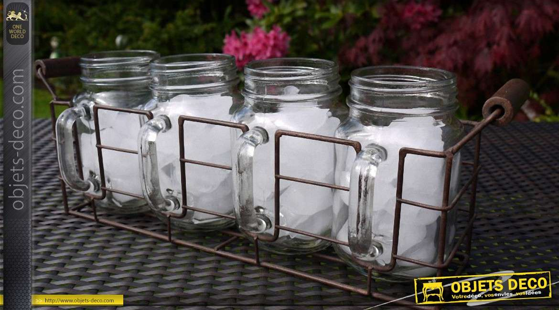 Support de style ancien avec 4 pots en verre à anses
