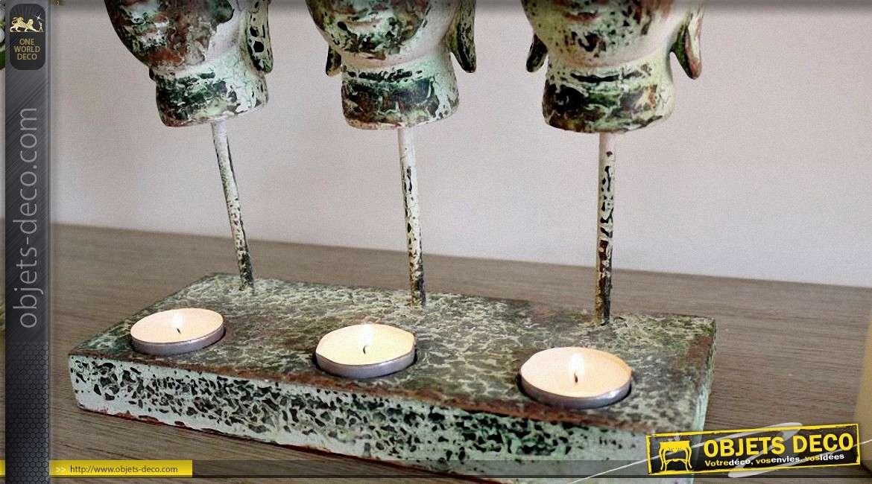 Bougeoir porte-photophores à 3têtes de bouddhas vert antique