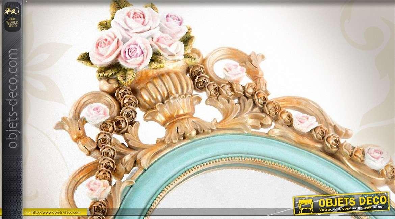 Miroir ovale de style romantique coloris turquoise et or 56 cm for Miroir bordure doree