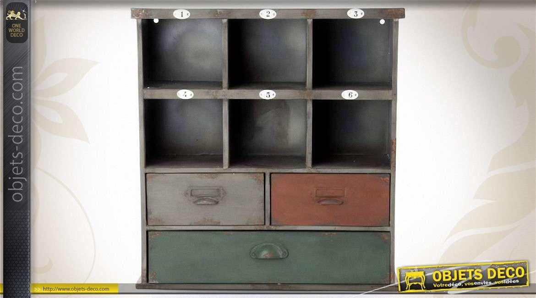 etag re murale avec casiers et tiroirs style meuble d 39 atelier. Black Bedroom Furniture Sets. Home Design Ideas