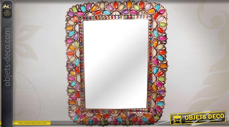 Miroir de style indien cadre strass et brillants for Miroir des joyaux