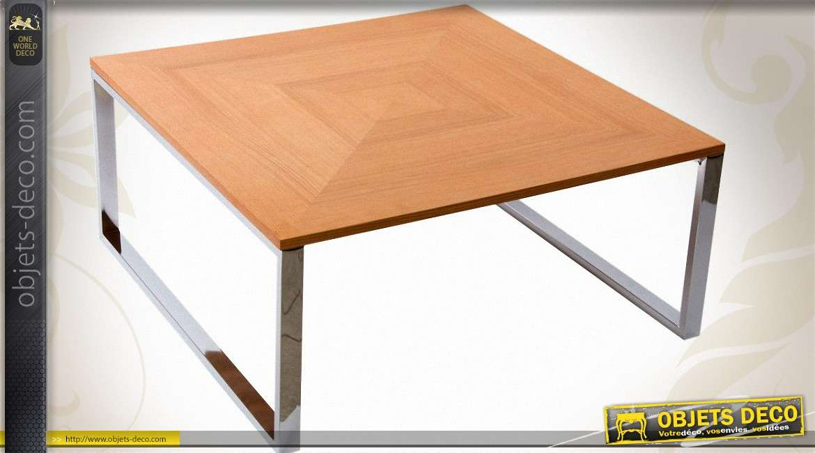 Table basse carr e design 90 x 90 en bois et m tal chrom for Table 90x90 design