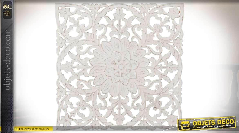 Panneau mural en bois sculpt motifs floraux stylis s et - Panneaux decoration murale ...