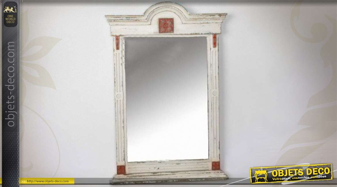 Miroir de style r tro et brocante patine blanc antique 86 cm for On traverse un miroir