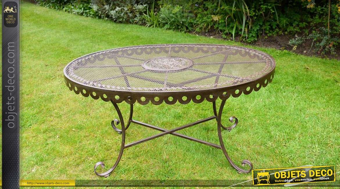 Table basse de jardin ovale en m tal coloris brun antique - Table basse jardin metal ...