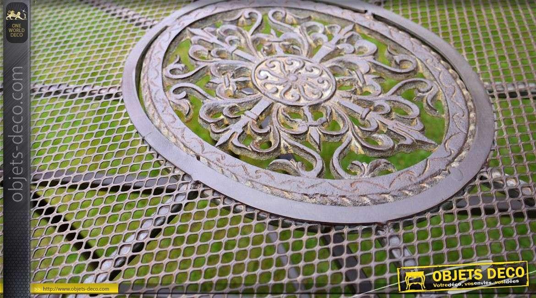 De Antique En Basse Table Jardin Ovale Métal Brun Coloris QrxsohtdCB