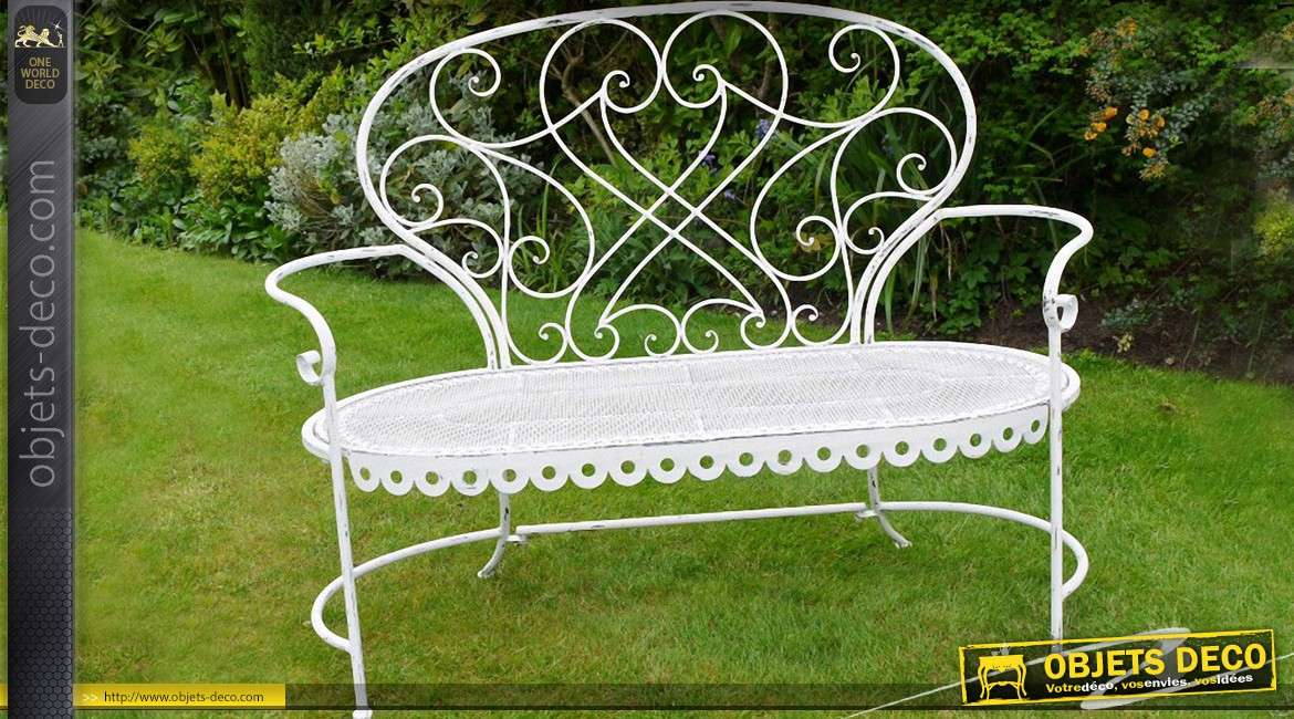 banc de jardin fer forg et m tal style romantique coloris blanc. Black Bedroom Furniture Sets. Home Design Ideas