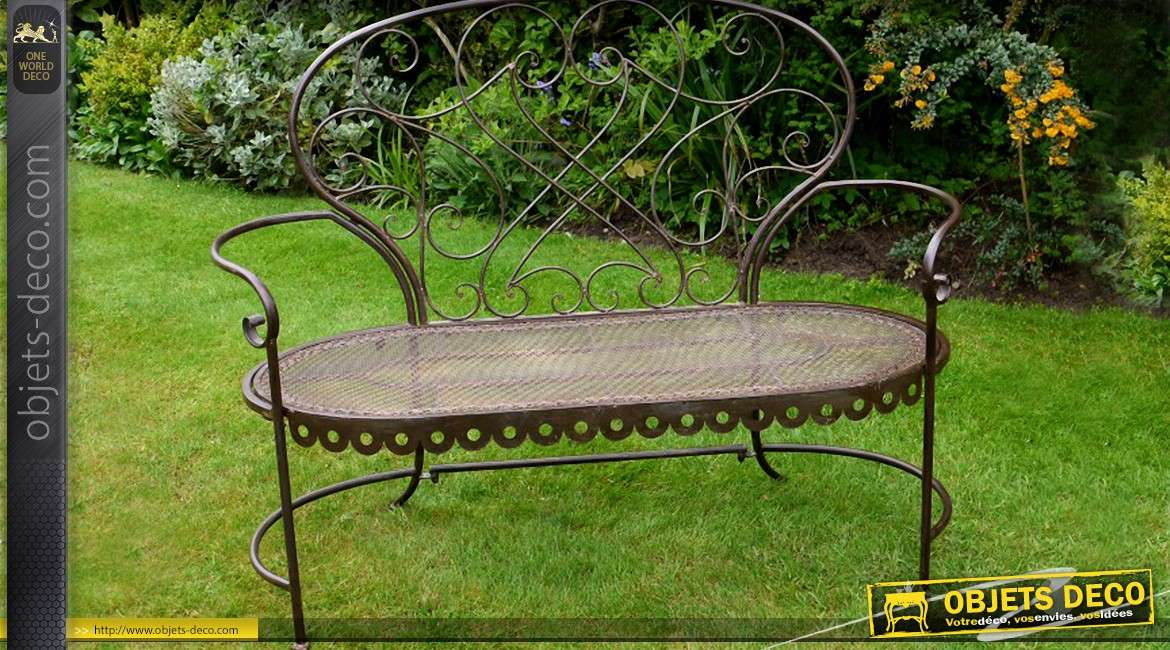 Beautiful banc de jardin demi lune ideas design trends for Deco jardin fer forge