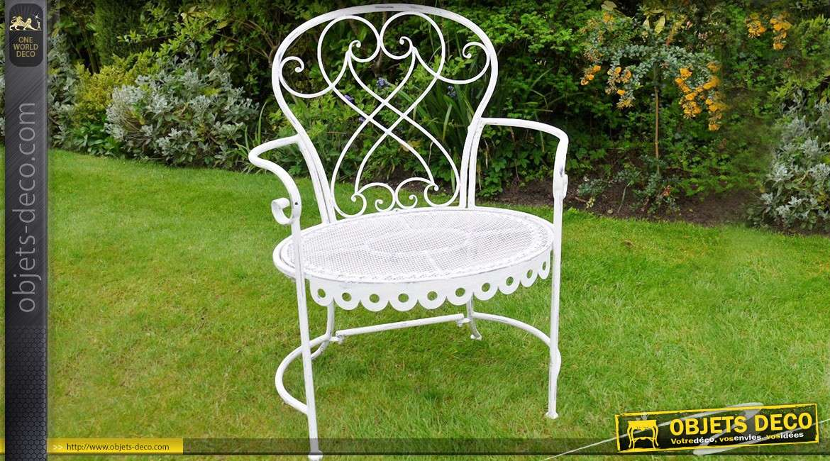fauteuil de jardin en m tal et fer forg coloris blanc antique. Black Bedroom Furniture Sets. Home Design Ideas