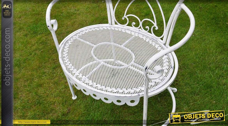 Fauteuil de jardin en m tal et fer forg coloris blanc antique for Objet deco jardin metal