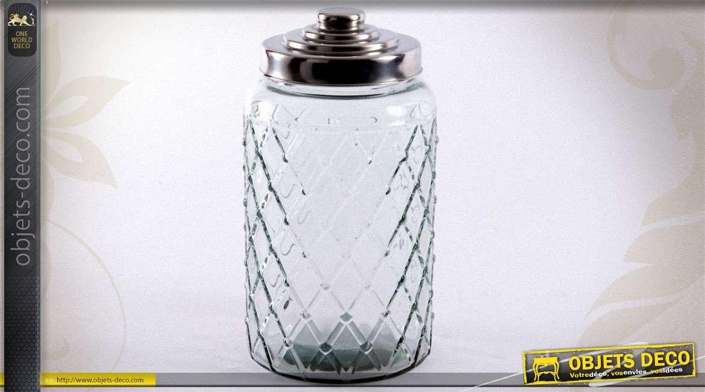 bocal d coratif verre motif de losanges 30 cm. Black Bedroom Furniture Sets. Home Design Ideas