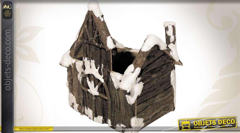 Maison corbeille en écorce d'arbre avec doublure PVC intérieure