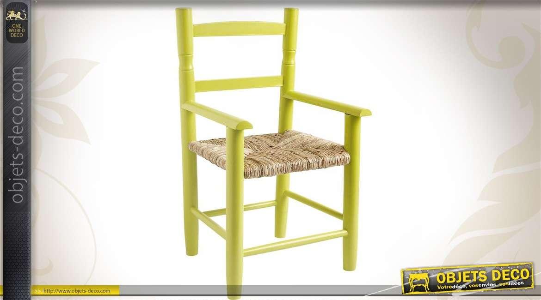 Chaise enfant en hêtre laqué anis, siège roseau