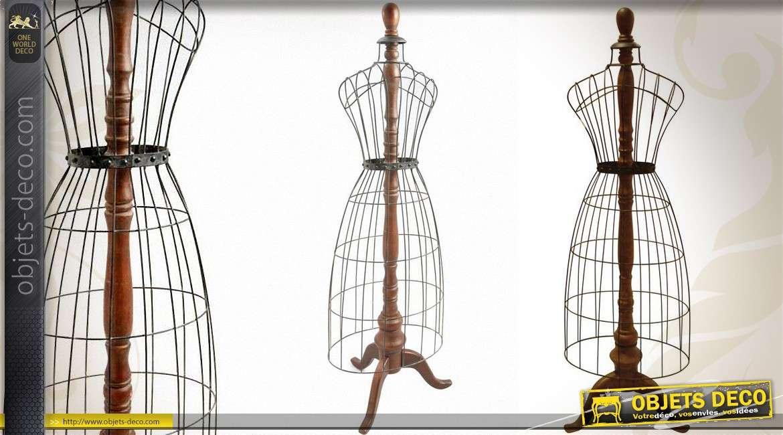 Mannequin décoratif bois tourné et métal coloris zinc ancien