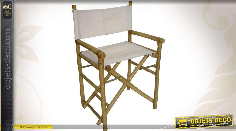 Fauteuil metteur en scène en bambou et toile coton