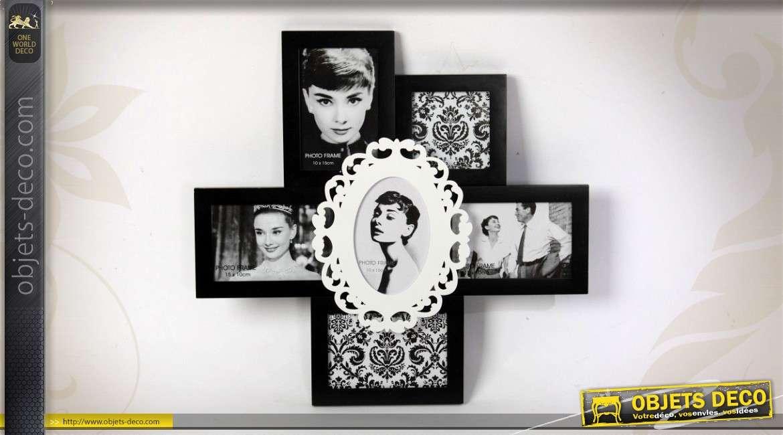 p le m le mural 6 vues coloris blanc et noir en bois 47 x 45 cm. Black Bedroom Furniture Sets. Home Design Ideas