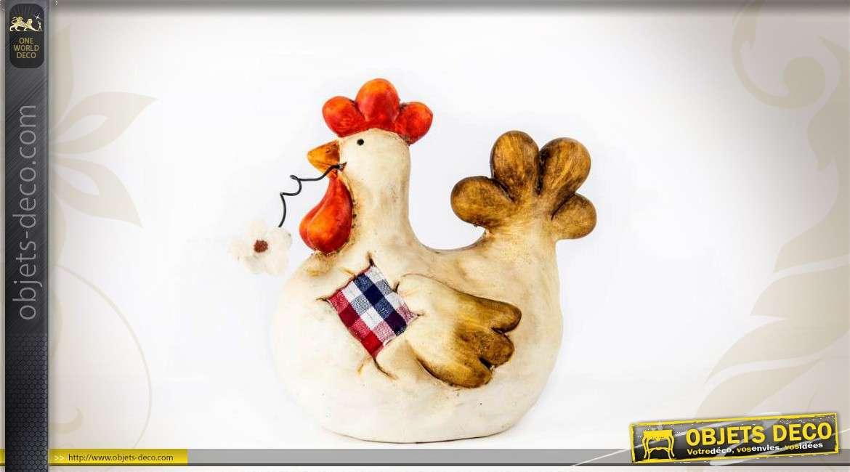 Figurine Decorative De Poule En Ceramique Peinte A La Main