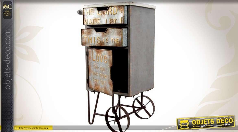 Meuble chariot en bois et m tal de style industriel - Meuble d appoint metal ...