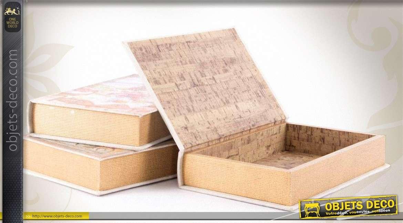 trois bo tes en bois forme livres anciens style romantique. Black Bedroom Furniture Sets. Home Design Ideas