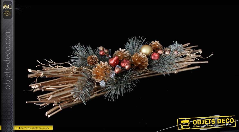 Centre de table rotin et pommes de pin finition dor e 56 cm - Decoration de pomme de pin pour noel ...