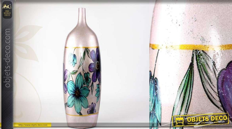 Vase en c ramique couleur nacr e motifs de fleurs bleues for Objet deco couleur turquoise