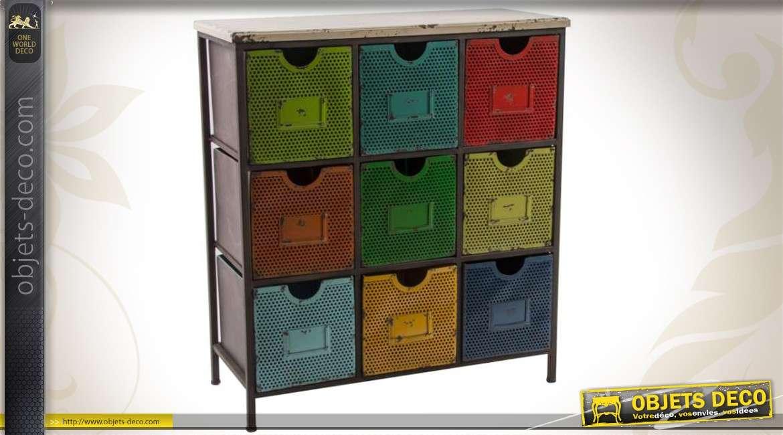 Meuble de rangement en m tal de style industriel 9 tiroirs - Meuble d appoint metal ...