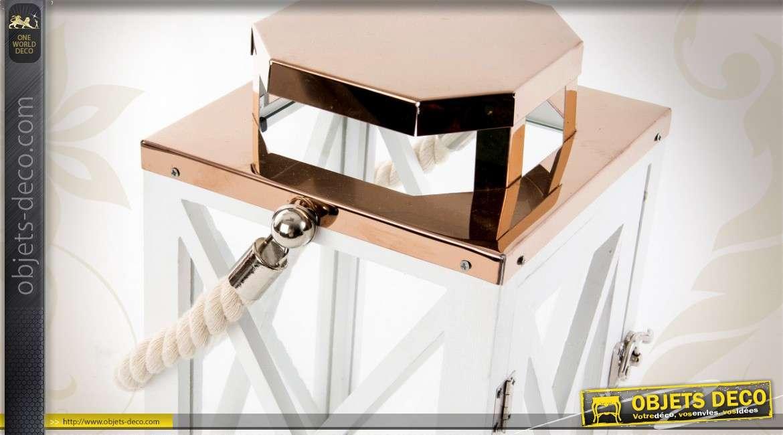 Lanterne en bois laqu blanc et m tal cuivr brillant 31 cm for Planche bois laque blanc brillant