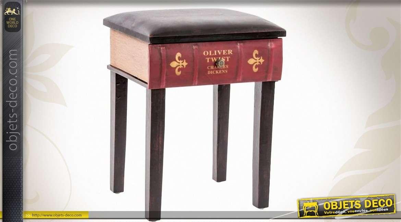 tabouret style r tro et clectique assise forme de livre. Black Bedroom Furniture Sets. Home Design Ideas
