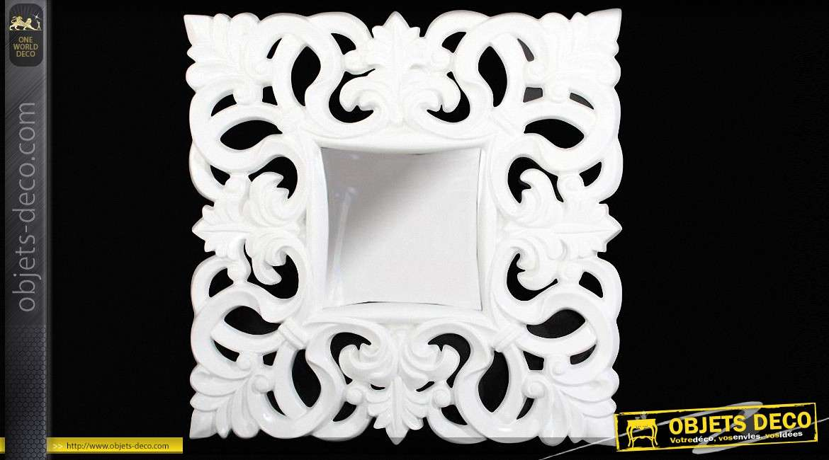 Miroir baroque patine blanc antique for Miroir baroque blanc