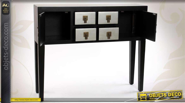 Console noir et argent de style japonais 2 portes et 4 tiroirs for Console style japonais