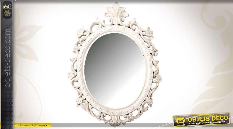 Miroir ovale style baroque argent et vieilli 49 cm for Miroir style baroque