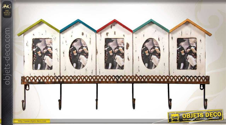 Porte manteaux en forme de cabanes de plage bois et m tal - Porte cabane bois ...