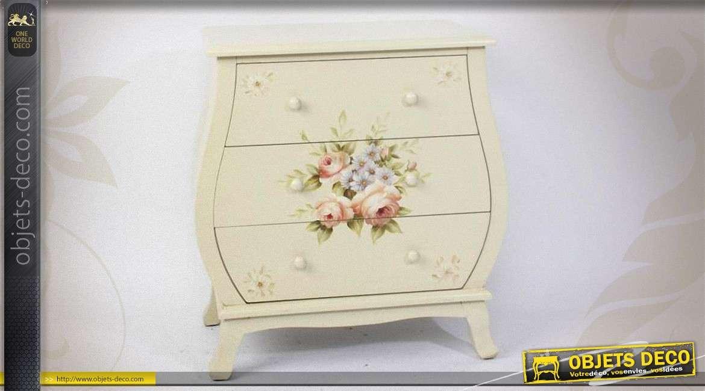 commode de style romantique trois tiroirs avec motifs. Black Bedroom Furniture Sets. Home Design Ideas