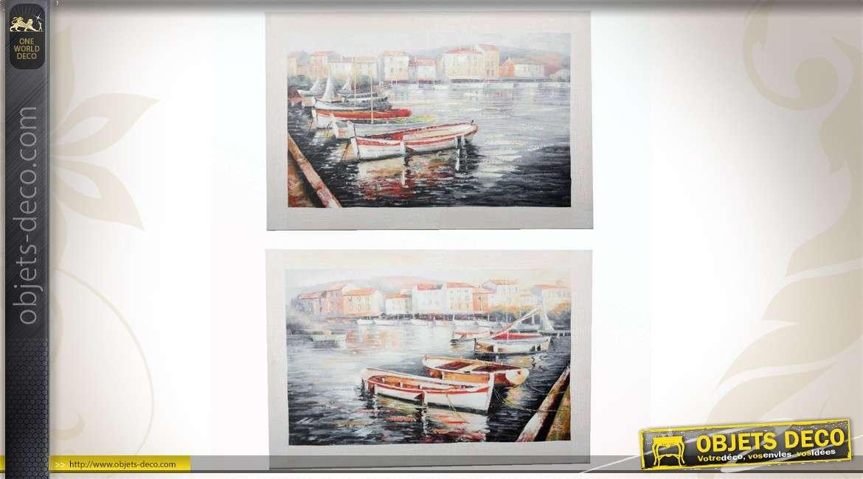tableaux de barques amarr es au port. Black Bedroom Furniture Sets. Home Design Ideas