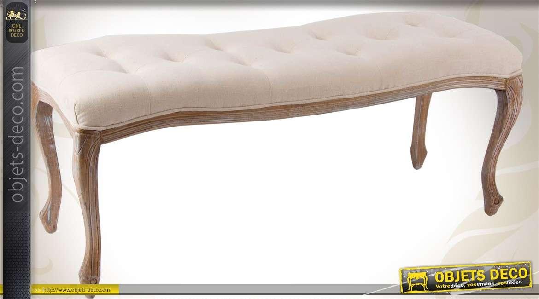 banquette bout de lit style louis xv lin cru finition. Black Bedroom Furniture Sets. Home Design Ideas