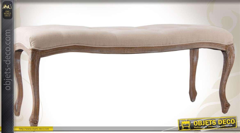 banquette bout de lit style louis xv lin cru finition vieillie. Black Bedroom Furniture Sets. Home Design Ideas