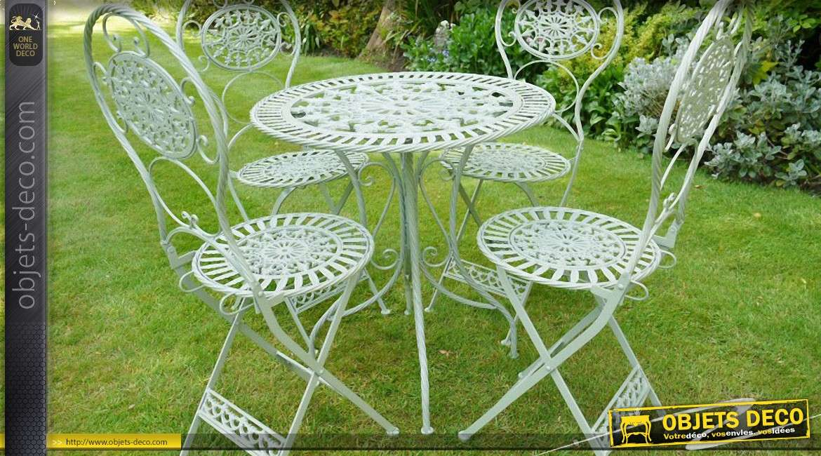 Best salon de jardin blanc en fer forge pictures for Fer forge decoration jardin