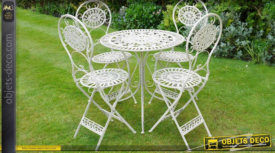 salon de jardin r tro blanc cr me antique fer forg 4 personnes. Black Bedroom Furniture Sets. Home Design Ideas